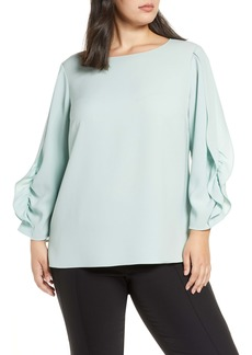 Lafayette 148 New York Perrin Ruffle Sleeve Finesse Crepe Blouse (Plus Size)
