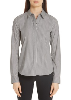 Lafayette 148 New York Phaedra Metallic Stripe Blouse