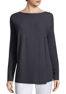 Lafayette 148 New York Pintuck Stitch Front Slit Sweater