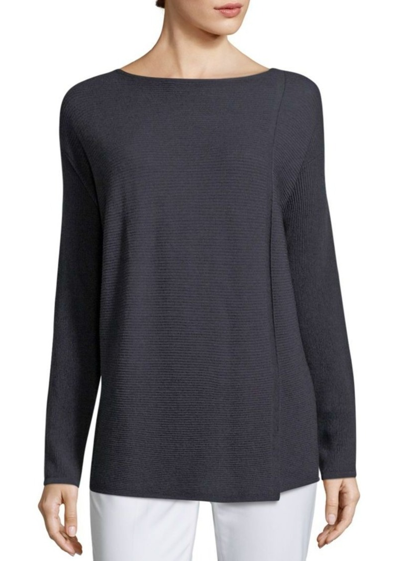 Lafayette 148 New York Pintuck Stitch Front Slit Sweater