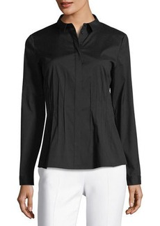 Lafayette 148 New York Pintucked Long-Sleeve Blouse