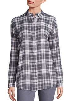 Lafayette 148 New York Plaid Sabira Blouse