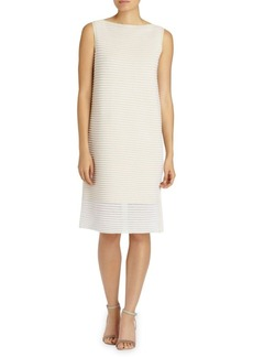 Lafayette 148 New York Plated Sheer Stripe Dress