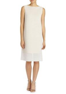Lafayette 148 New York Plated Sheer Stripe Dress