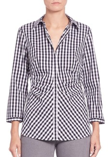 Lafayette 148 New York Pleated Button-Front Shirt