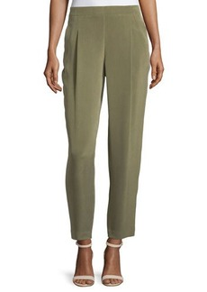 Lafayette 148 New York Pleated-Front Cropped Silk Pants