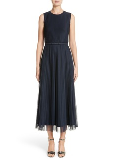 Lafayette 148 New York Pleated Mesh Dress