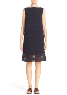 Lafayette 148 New York Pleated Sheer Stripe Dress