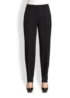 Lafayette 148 New York Pleated Stretch-Wool Pants