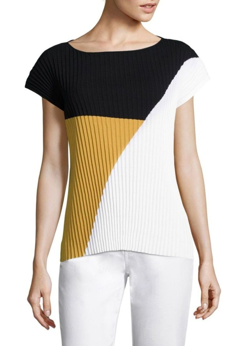 Lafayette 148 New York Plissé Colorblock Sweater