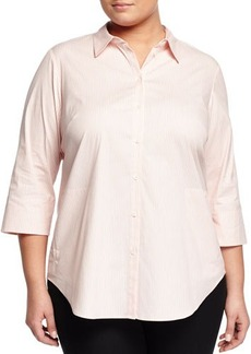 Lafayette 148 New York Plus 3/4-Sleeve Button-Front Top
