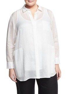 Lafayette 148 New York Plus Carlise Dual-Pocket Button Blouse