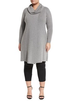 Lafayette 148 New York Cowl-Neck Front-Slit Long Sweater