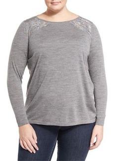 Lafayette 148 New York Plus Lace-Inset Wool Sweater