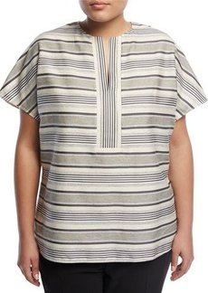 Lafayette 148 New York Plus Lula Striped Cotton-Blend Blouse
