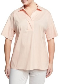 Lafayette 148 New York Plus Mitra Split-Neck Relaxed Blouse