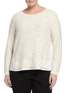 Lafayette 148 New York Nubby Sweater W/Linen Trim