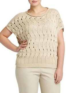 Lafayette 148 New York Plus Open-Wave-Stitch Sweater
