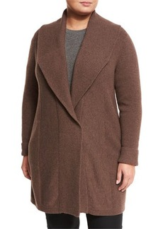 Lafayette 148 New York Plus Shawl-Collar Long Wool Cardigan