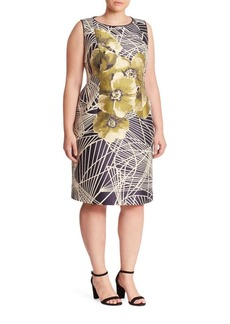 Lafayette 148 New York, Plus Size Faith Spiral Rose Jacquard Dress