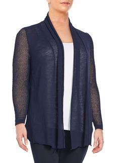 Lafayette 148 New York, Plus Size Linen Blend Mixed-Knit Cardigan