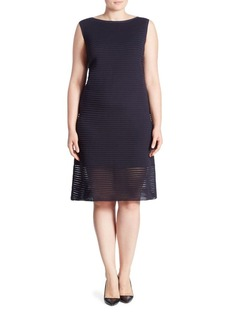 Lafayette 148 New York, Plus Size Pleated Striped Dress