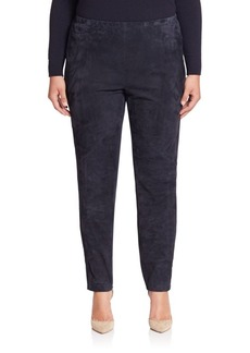 Lafayette 148 New York, Plus Size Punto Milano Suede-Front Leggings