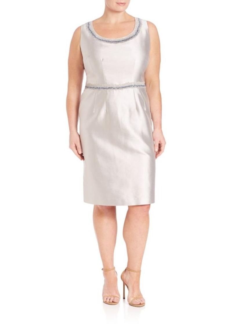 Lafayette 148 New York, Plus Size Rebecca Embellished Nouveau Shantung Dress