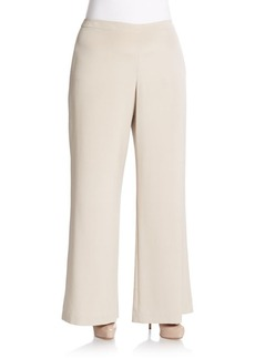 Lafayette 148 New York, Plus Size Silk-Blend Flared Trousers