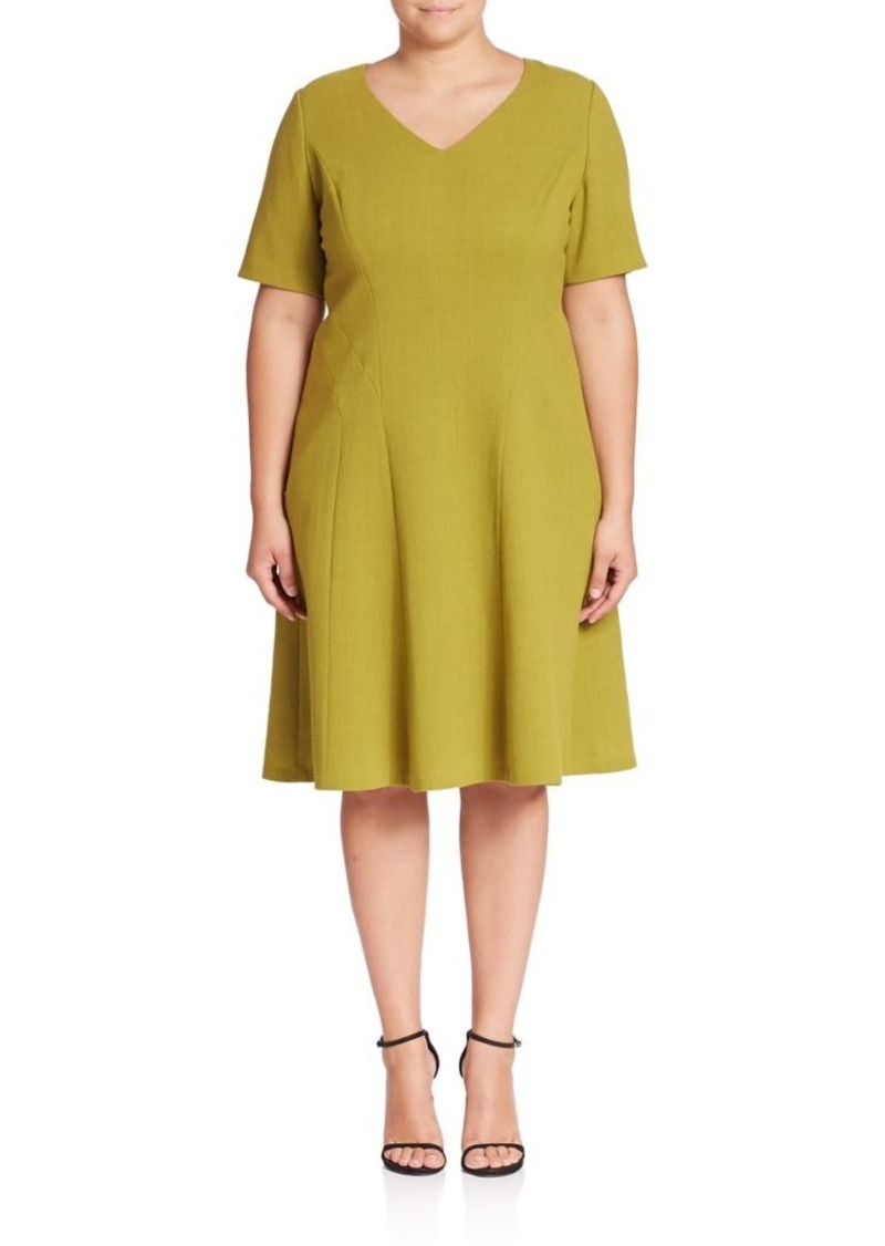 Lafayette 148 New York, Plus Size Solid V-Neck Wool Dress
