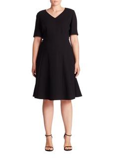 Lafayette 148 New York, Plus Size Solid V-Neck Wool Dress