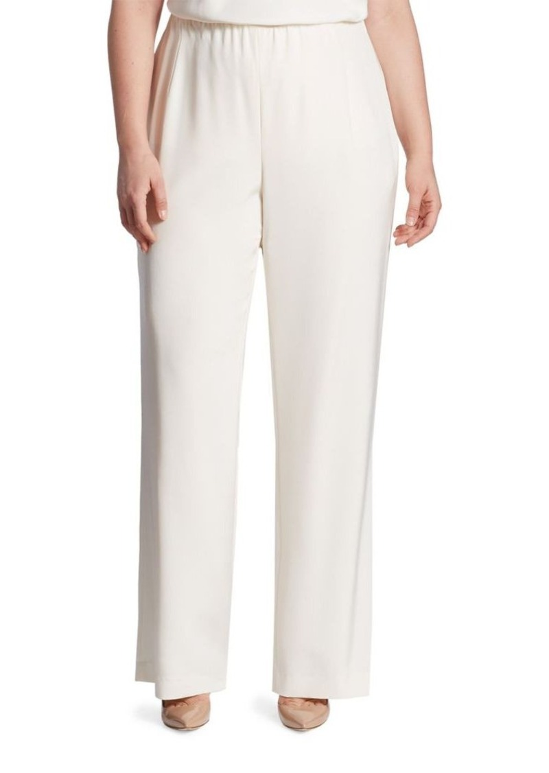 Lafayette 148 New York, Plus Size Studio Stretch-Silk Pants