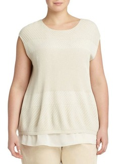 Lafayette 148 New York Plus Textured Georgette-Hem Cap-Sleeve Sweater