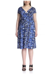 Lafayette 148 New York Plus Women's Printed Dress with Ruched Waist