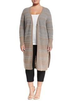 Lafayette 148 New York Wool Stripe-Knit Duster Sweater