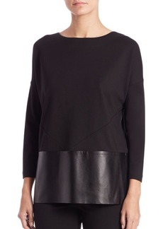 Lafayette 148 New York Ponte Faux Leather-Trim Blouse