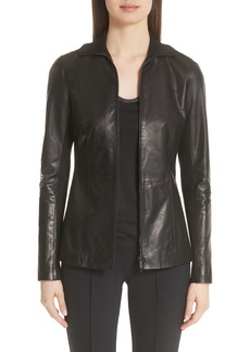 Lafayette 148 New York Ponte Panel Leather Jacket (Nordstrom Exclusive)