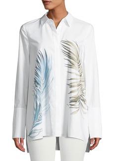 Lafayette 148 New York Porto Placed Palms Button-Front Cotton Blouse