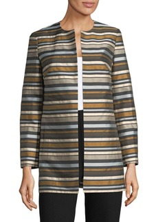 Lafayette 148 New York Pria Striped Coat