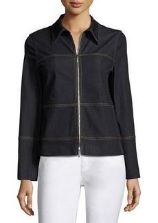 Lafayette 148 New York Primo Zip-Front Denim Jacket