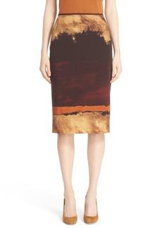 Lafayette 148 New York Print Pencil Skirt