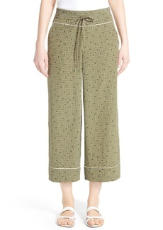 Lafayette 148 New York Print Silk Crop Drawstring Pants