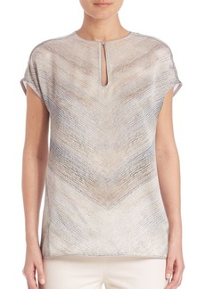 Lafayette 148 New York Printed Silk Top