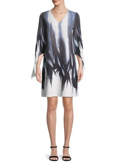 Lafayette 148 Printed V-Neck Dress