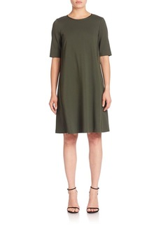 Lafayette 148 New York Punto Milano Charmeuse-Trim Dress
