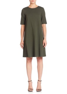 Lafayette 148 Punto Milano Charmeuse-Trim Dress