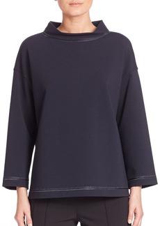 Lafayette 148 New York Punto Milano Charmeuse-Trim Metallic Stitch Sweatshirt
