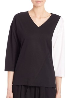 Lafayette 148 New York Punto Milano Colorblock Tech Cloth Top