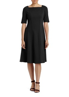 Lafayette 148 New York Punto Milano Elbow Sleeve Fit & Flare Dress