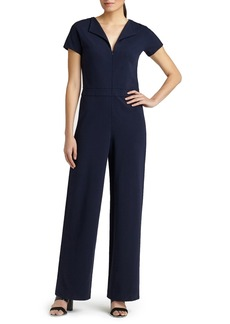 Lafayette 148 New York Punto Milano Front Zip Wing Collar Jumpsuit